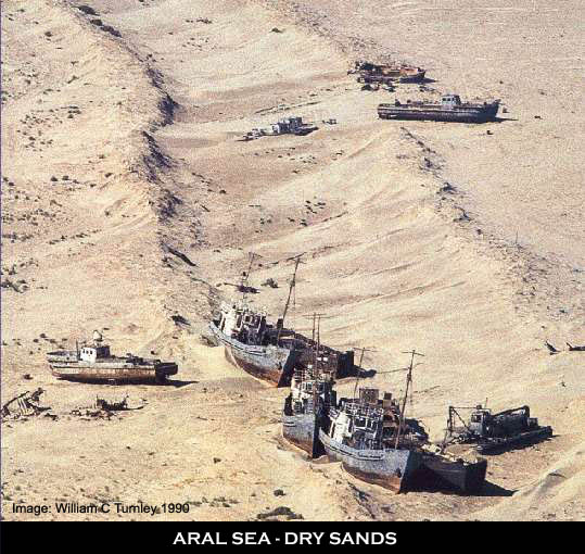Aral Sea dry with stranded boats