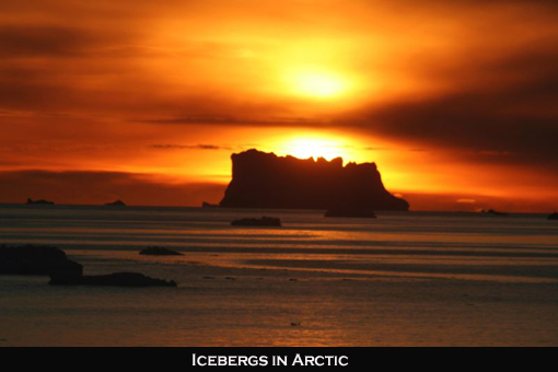 Arctic Sunset over icebergs