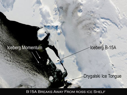 B15A Iceberg breaks away from the Ross Ice Shelf
