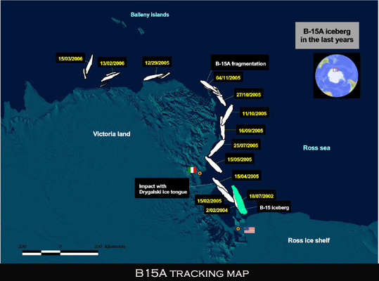 B15 Antarctic Ross Shelf Iceberg map