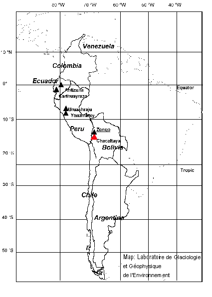 Chacaltaya glacier in Bolivia map