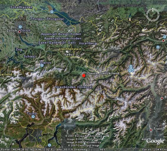 Davos Swiss Alps - Switzerland map