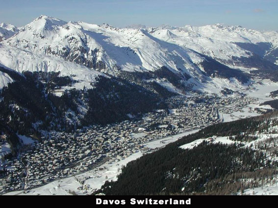 Davos Town snow capped scene