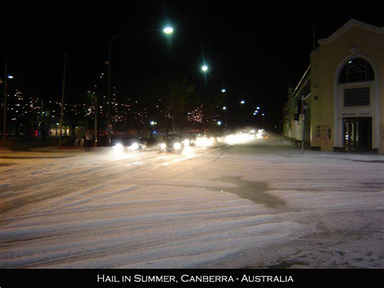 Canberra Thunderstorm hail and lightning