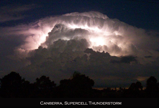 Canberra spercell thunderstorm lightning hail