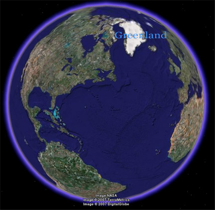 Greenland map - Google earth. Melting Greenland Icesheet