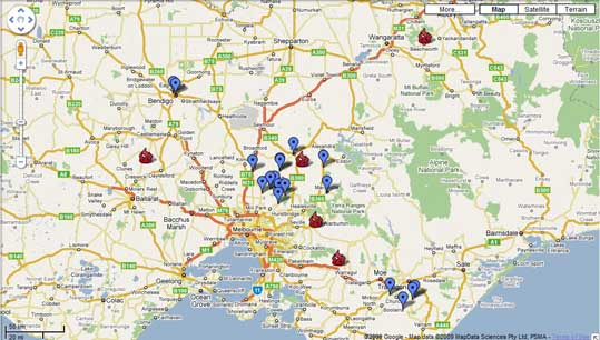 Kinglake Fire map