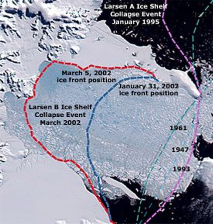 Larsen ice shelf collapse