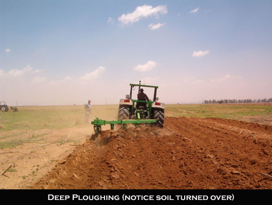 Deep Ploughing of soil
