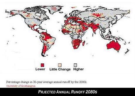 Map - annual projected water runoff 2080