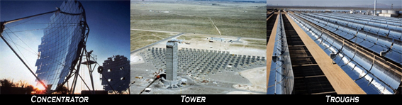 solar concentrator tower trough