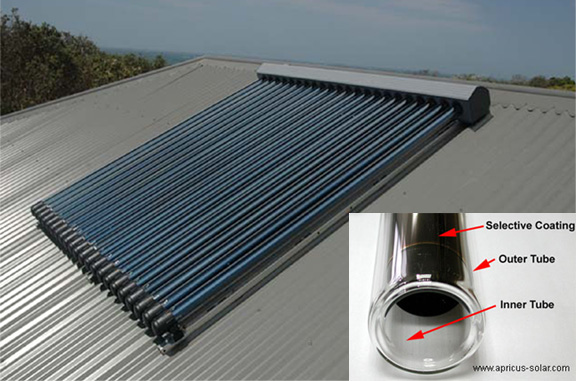 Solar hot water evacuated tube