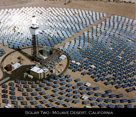 Solar power tower Mojave Desert California