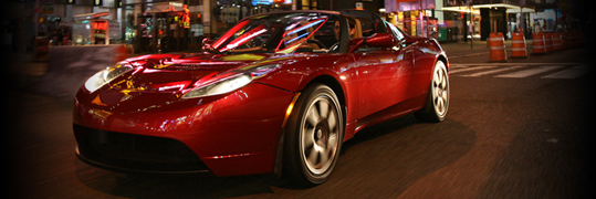 Telsa electric red car
