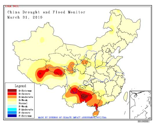 July 2009 China drought map