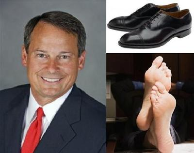 Formula For Success: Take One Well Dressed Corporate Executive (left), Remove His Expensive Shoes and Socks (above right) and Create Instant Energy Savings! (below right)