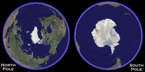 North and South Polar Caps