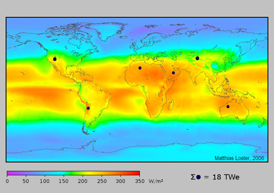 Land area needed for global solar solution